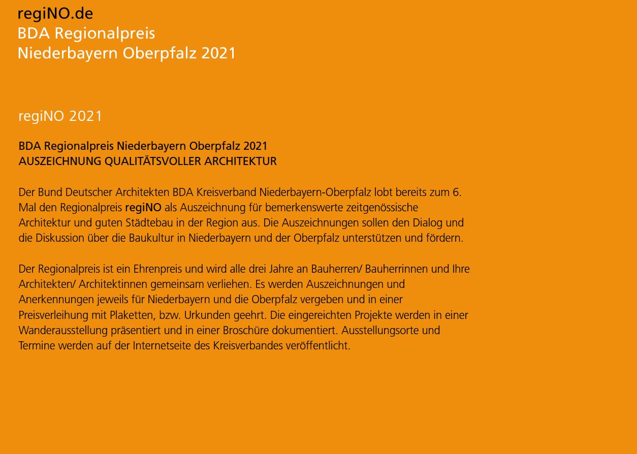 regiNO Teilnahme am BDA Regionalpreis – Niederbayern Oberpfalz 2021